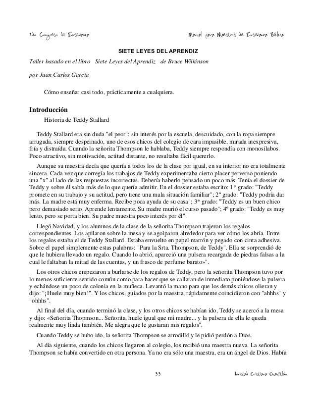 2do. Congreso de Enseñanza  Manual para Maestros de Enseñanza Bíblica  SIETE LEYES DEL APRENDIZ  Taller basado en el libro...