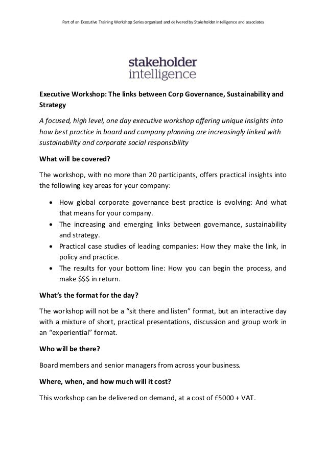 Part of an Executive Training Workshop Series organised and delivered by Stakeholder Intelligence and associatesExecutive ...