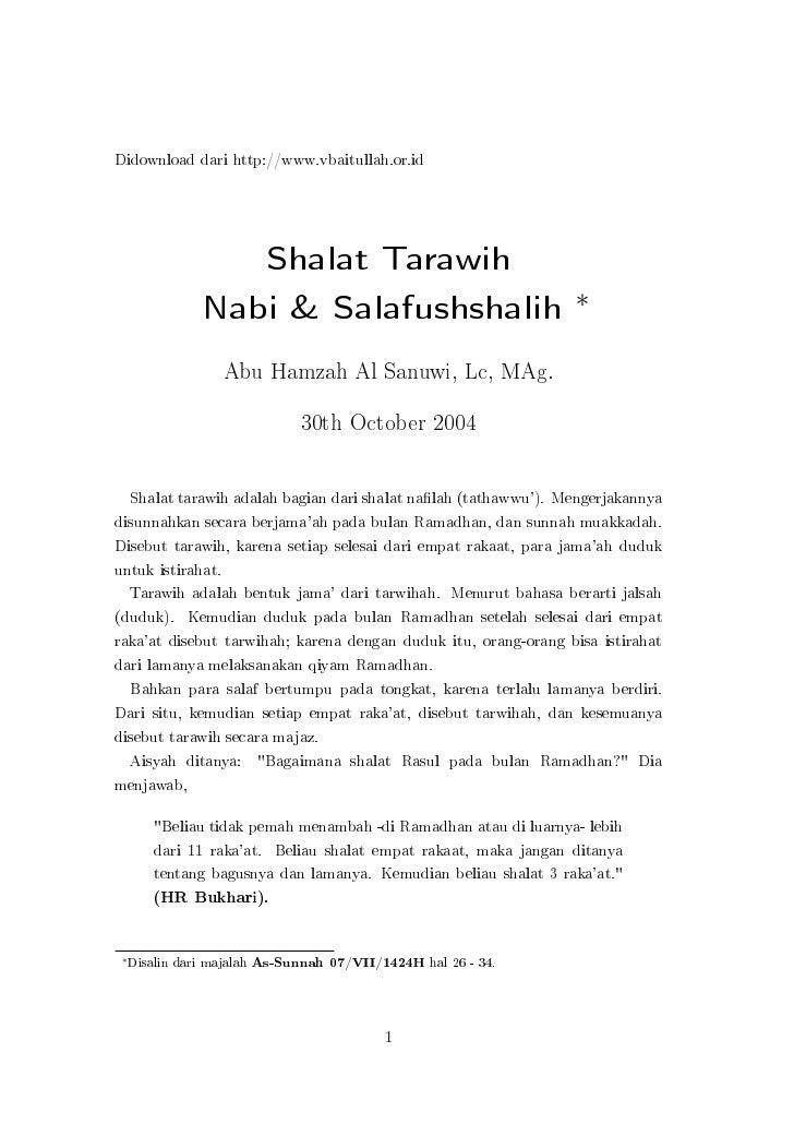 Didownload dari http://www.vbaitullah.or.id                         Shalat Tarawih                  Nabi & Salafushshalih ...