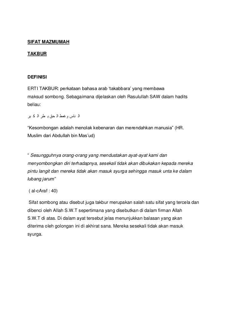 """SIFAT MAZMUMAHTAKBURDEFINISIERTI TAKBUR: perkataan bahasa arab """"takabbara"""" yang membawamaksud sombong. Sebagaimana dijelas..."""