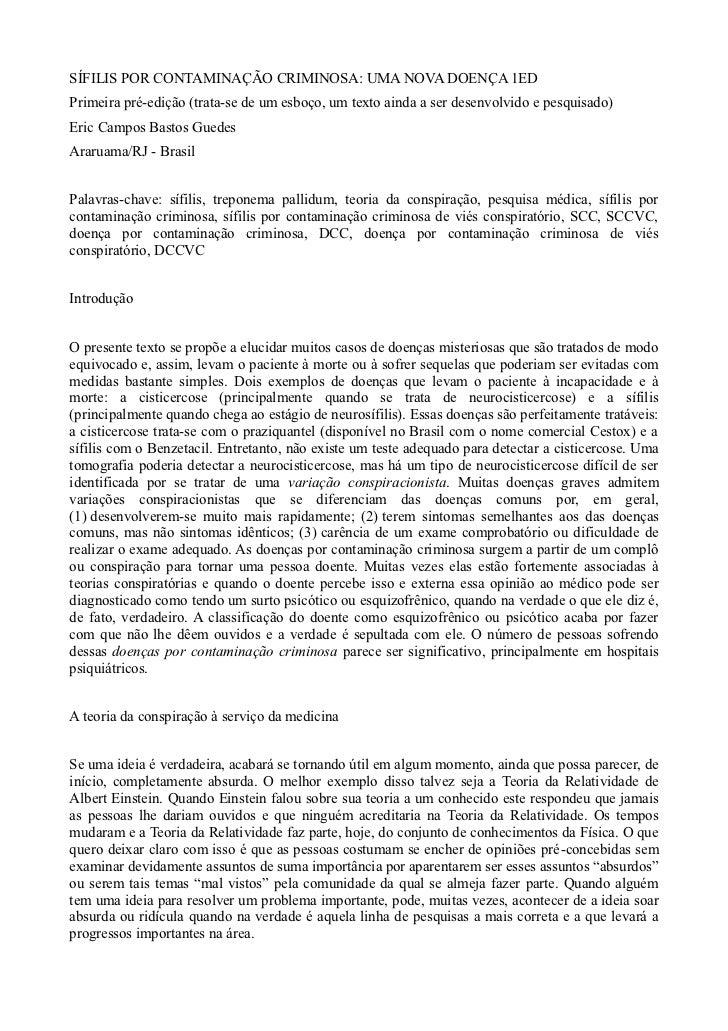 SÍFILIS POR CONTAMINAÇÃO CRIMINOSA: UMA NOVA DOENÇA 1EDPrimeira pré-edição (trata-se de um esboço, um texto ainda a ser de...