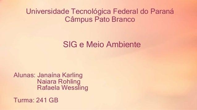Universidade Tecnológica Federal do Paraná  Câmpus Pato Branco  SIG e Meio Ambiente  Alunas: Janaína Karling  Naiara Rohli...
