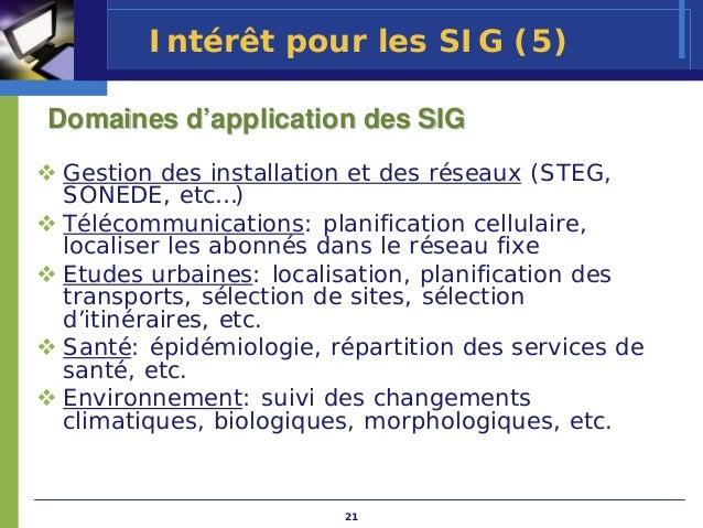 Intérêt pour les SIG (5)Domaines d'application des SIG Gestion des installation et des réseaux (STEG, SONEDE, etc…) Téléco...