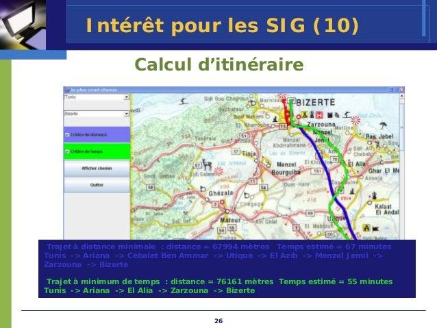 Intérêt pour les SIG (10)                    Calcul d'itinéraire Trajet à distance minimale : distance = 67994 mètres Temp...