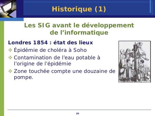 Historique (1)     Les SIG avant le développement            de l'informatiqueLondres 1854 : état des lieux  Épidémie de c...