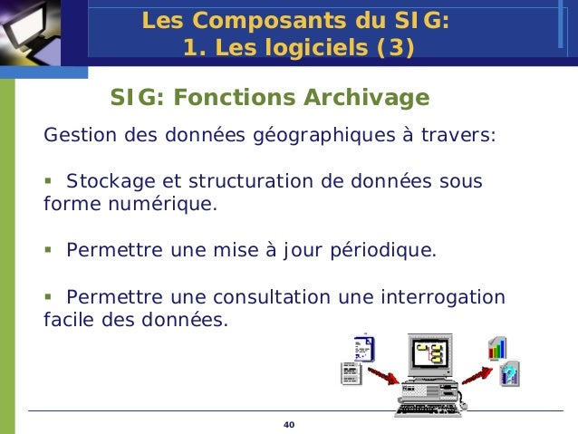 Les Composants du SIG:            1. Les logiciels (3)      SIG: Fonctions ArchivageGestion des données géographiques à tr...