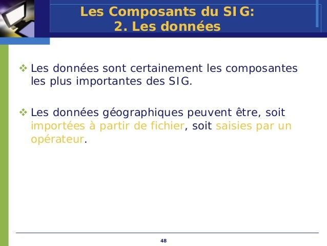 Les Composants du SIG:              2. Les donnéesLes données sont certainement les composantesles plus importantes des SI...