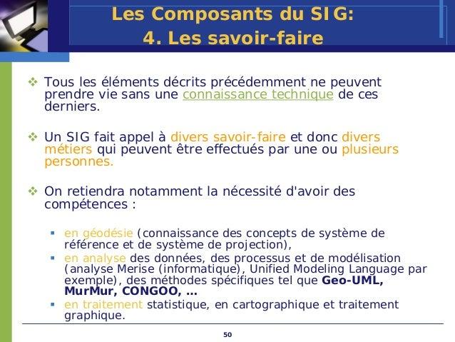 Les Composants du SIG:             4. Les savoir-faireTous les éléments décrits précédemment ne peuventprendre vie sans un...