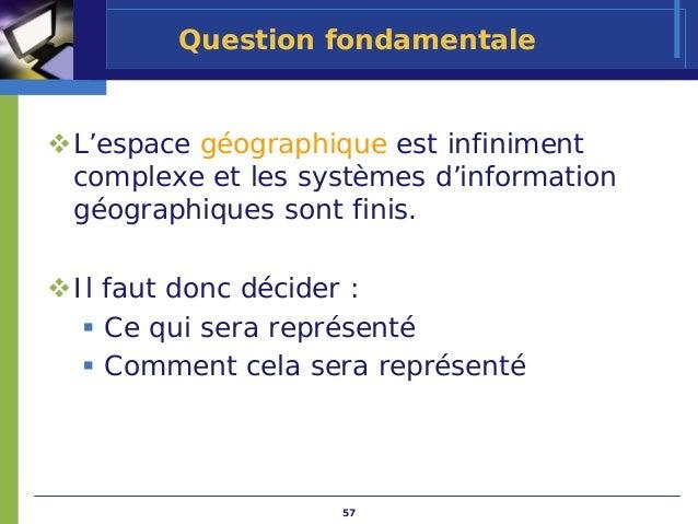 Question fondamentaleL'espace géographique est infinimentcomplexe et les systèmes d'informationgéographiques sont finis.Il...