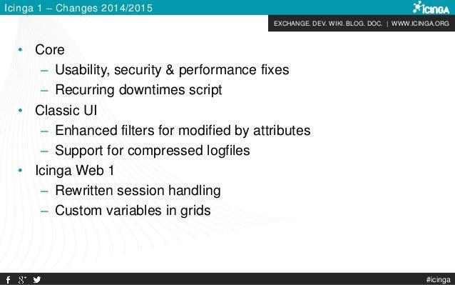 EXCHANGE. DEV. WIKI. BLOG. DOC. | WWW.ICINGA.ORG #icinga Icinga 1 – Changes 2014/2015 • Core – Usability, security & perfo...