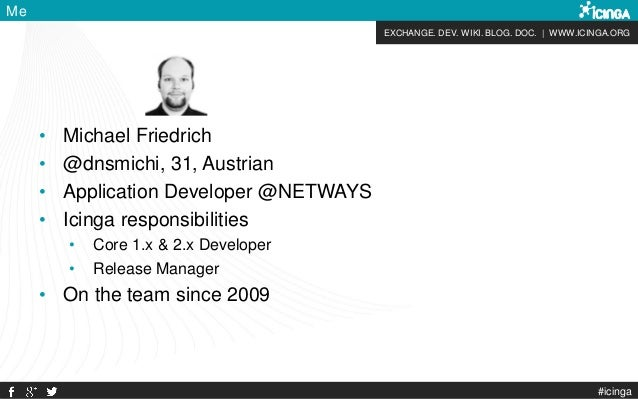 EXCHANGE. DEV. WIKI. BLOG. DOC. | WWW.ICINGA.ORG #icinga Me • Michael Friedrich • @dnsmichi, 31, Austrian • Application De...
