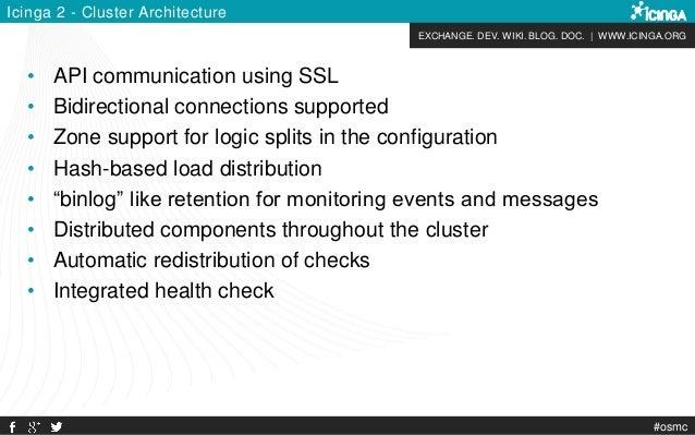 EXCHANGE. DEV. WIKI. BLOG. DOC. | WWW.ICINGA.ORG #osmc Icinga 2 - Cluster Architecture • API communication using SSL • Bid...