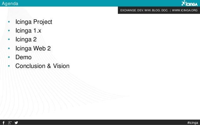 EXCHANGE. DEV. WIKI. BLOG. DOC. | WWW.ICINGA.ORG #icinga Agenda • Icinga Project • Icinga 1.x • Icinga 2 • Icinga Web 2 • ...
