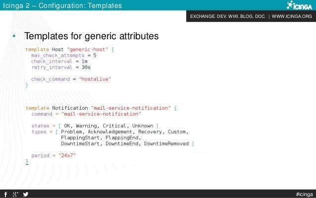 EXCHANGE. DEV. WIKI. BLOG. DOC. | WWW.ICINGA.ORG #icinga Icinga 2 – Configuration: Templates • Templates for generic attri...
