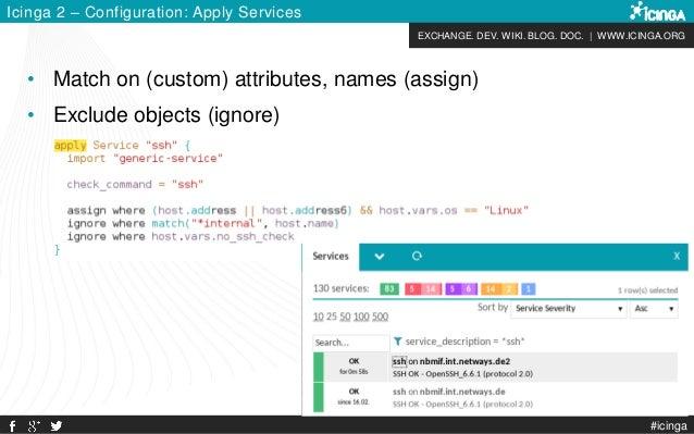EXCHANGE. DEV. WIKI. BLOG. DOC. | WWW.ICINGA.ORG #icinga Icinga 2 – Configuration: Apply Services • Match on (custom) attr...