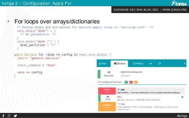 EXCHANGE. DEV. WIKI. BLOG. DOC. | WWW.ICINGA.ORG #icinga Icinga 2 – Configuration: Apply For • For loops over arrays/dicti...