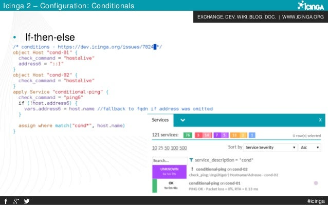 EXCHANGE. DEV. WIKI. BLOG. DOC. | WWW.ICINGA.ORG #icinga Icinga 2 – Configuration: Conditionals • If-then-else