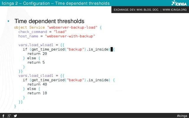 EXCHANGE. DEV. WIKI. BLOG. DOC. | WWW.ICINGA.ORG #icinga Icinga 2 – Configuration – Time dependent thresholds • Time depen...