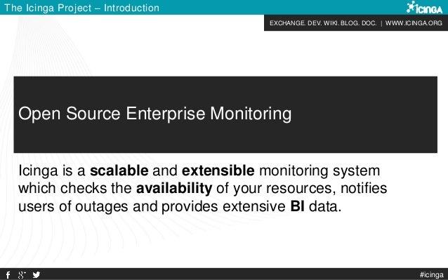 EXCHANGE. DEV. WIKI. BLOG. DOC. | WWW.ICINGA.ORG The Icinga Project – Introduction #icinga Open Source Enterprise Monitori...