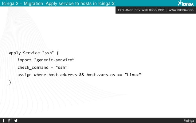 EXCHANGE. DEV. WIKI. BLOG. DOC. | WWW.ICINGA.ORG #icinga Icinga 2 – Migration: Apply service to hosts in Icinga 2 apply Se...