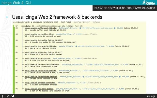 EXCHANGE. DEV. WIKI. BLOG. DOC. | WWW.ICINGA.ORG #icinga Icinga Web 2: CLI • Uses Icinga Web 2 framework & backends