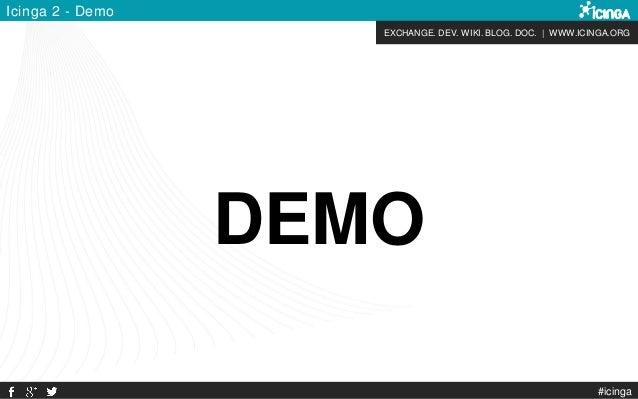 EXCHANGE. DEV. WIKI. BLOG. DOC. | WWW.ICINGA.ORG #icinga Icinga 2 - Demo DEMO