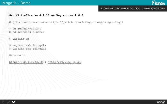 EXCHANGE. DEV. WIKI. BLOG. DOC. | WWW.ICINGA.ORG #icinga Icinga 2 – Demo Get VirtualBox >= 4.2.16 && Vagrant >= 1.6.5 $ gi...