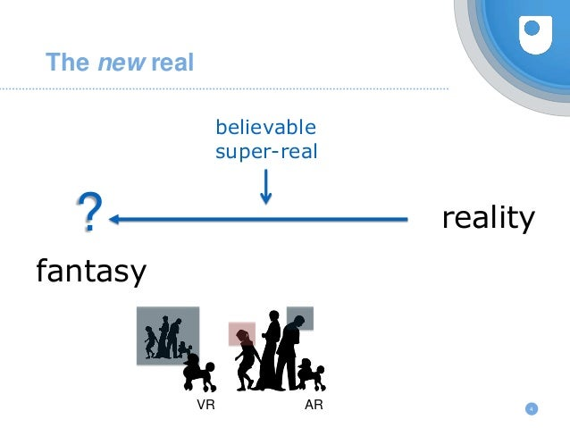 4 The new real reality? fantasy believable super-real VR AR
