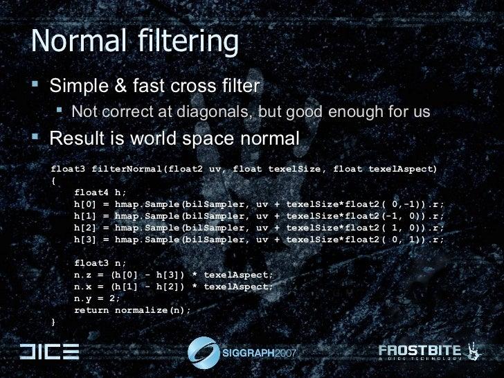 Normal filtering <ul><li>Simple & fast cross filter </li></ul><ul><ul><li>Not correct at diagonals, but good enough for us...