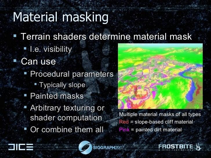 Material masking <ul><li>Terrain shaders determine material mask  </li></ul><ul><ul><li>I.e. visibility </li></ul></ul><ul...
