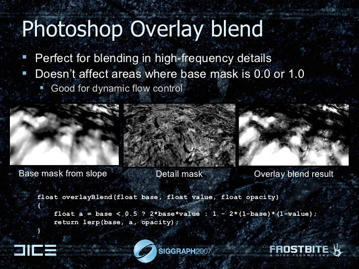 Photoshop Overlay blend <ul><li>Perfect for blending in high-frequency details </li></ul><ul><li>Doesn't affect areas wher...