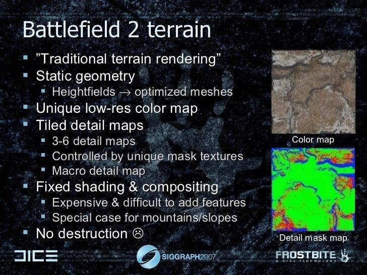 """Battlefield 2 terrain <ul><li>"""" Traditional terrain rendering"""" </li></ul><ul><li>Static geometry </li></ul><ul><ul><li>Hei..."""