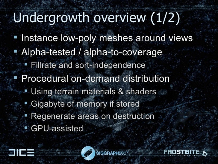 Undergrowth overview (1/2) <ul><li>Instance low-poly meshes around views </li></ul><ul><li>Alpha-tested / alpha-to-coverag...