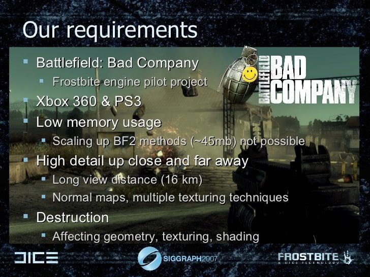 Our requirements <ul><li>Battlefield: Bad Company  </li></ul><ul><ul><ul><li>Frostbite engine pilot project </li></ul></ul...