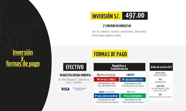SCUELA DE GOBIERNO Y GESTIÓN PÚBLICA Inversión y formas de pago (*)NODUDEENCONSULTAR INVERSIÓN S/. 497.00 FORMAS DE PAGO c...