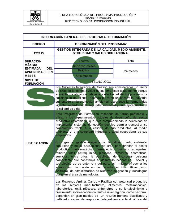 LÍNEA TECNOLÓGICA DEL PROGRAMA: PRODUCCIÓN Y                                       TRANSFORMACIÓN Sistema de Gestión      ...