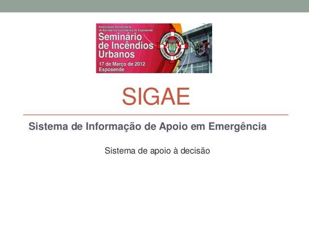 SIGAESistema de Informação de Apoio em Emergência              Sistema de apoio à decisão