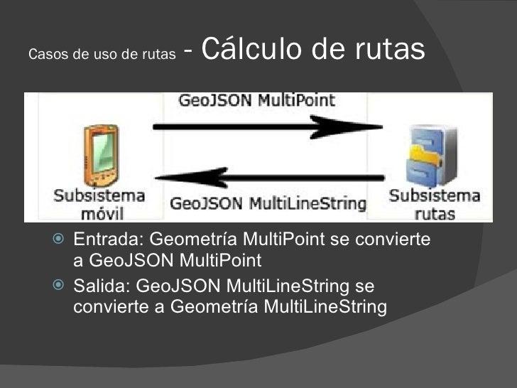 Casos de uso de rutas   - Cálculo de rutas         Entrada: Geometría MultiPoint se convierte      a GeoJSON MultiPoint  ...