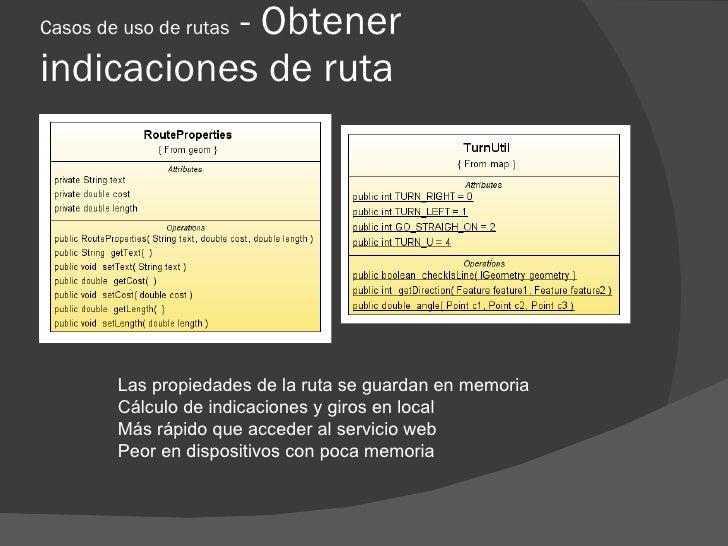 - Obtener Casos de uso de rutas  indicaciones de ruta             Las propiedades de la ruta se guardan en memoria        ...