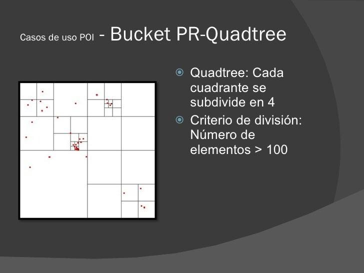Casos de uso POI   - Bucket PR-Quadtree                             Quadtree: Cada                              cuadrante...