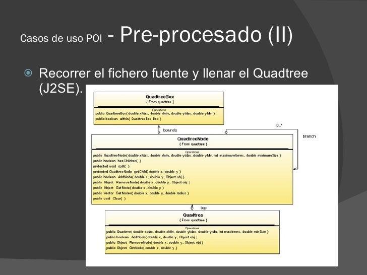 Casos de uso POI   - Pre-procesado (II)    Recorrer el fichero fuente y llenar el Quadtree     (J2SE).