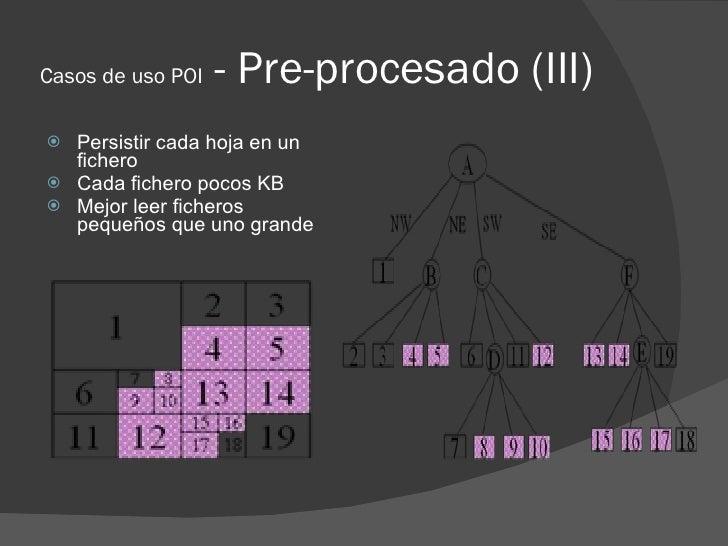 Casos de uso POI   - Pre-procesado (III)  Persistir cada hoja en un   fichero  Cada fichero pocos KB  Mejor leer ficher...
