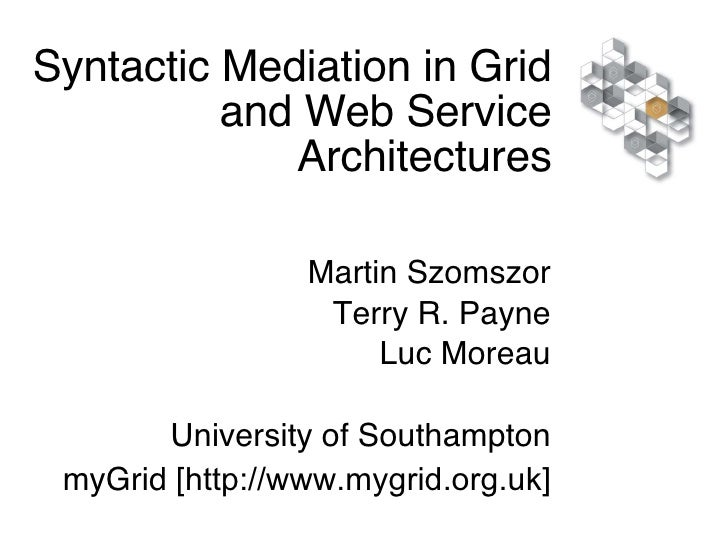 Syntactic Mediation in Grid and Web Service Architectures Martin Szomszor Terry R. Payne Luc Moreau University of Southamp...