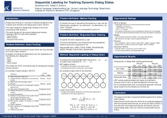 Sequential Labeling for Tracking Dynamic Dialog States Seokhwan Kim, Rafael E. Banchs Natural Language Understanding Lab.,...