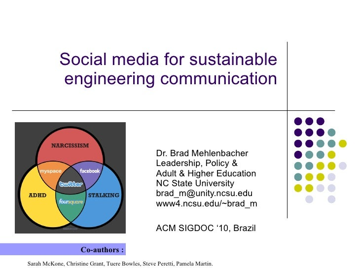 Social media for sustainable engineering communication Dr. Brad Mehlenbacher Leadership, Policy & Adult & Higher Education...