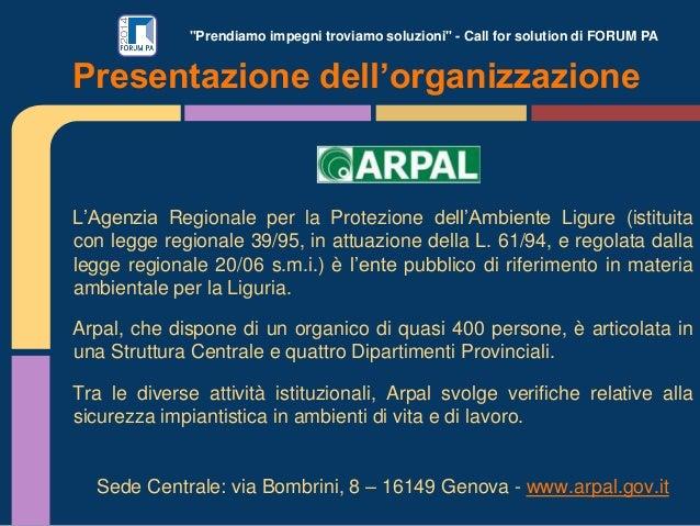 """""""Prendiamo impegni troviamo soluzioni"""" - Call for solution di FORUM PA L'Agenzia Regionale per la Protezione dell'Ambiente..."""