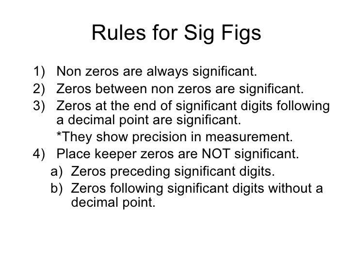 Sig Fig Rules Idealstalist