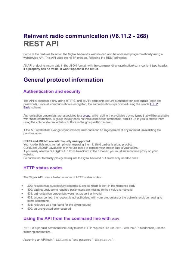Sigfox API Documentation