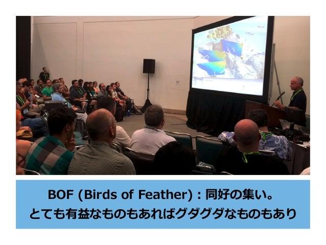 BOF (Birds of Feather):同好の集い。 とても有益なものもあればグダグダなものもあり