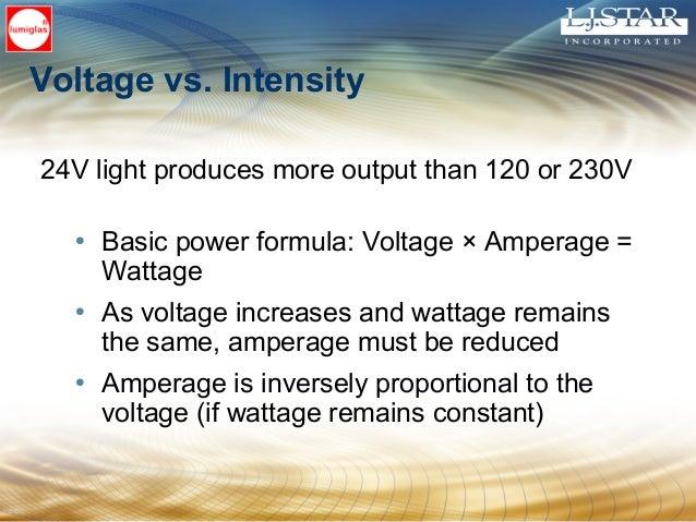Voltage vs. Intensity 24V light produces more output than 120 or 230V • Basic power formula: Voltage × Amperage = Wattage ...